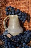 Παλαιά κανάτα κρασιού αργίλου που περιβάλλεται από τις μαύρα δέσμες σταφυλιών και το έμβλημα οινοποίησης Στοκ Εικόνα