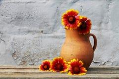 Παλαιά κεραμική κανάτα με τα λουλούδια Στοκ Φωτογραφίες