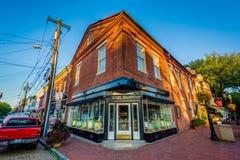 Παλαιά κτήρια τούβλου σε στο κέντρο της πόλης Annapolis, Μέρυλαντ Στοκ Εικόνα