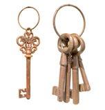 Παλαιά κλειδιά στο δαχτυλίδι Στοκ Εικόνες