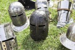 Παλαιά μεσαιωνικά κράνη Στοκ Φωτογραφία
