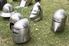 Παλαιά μεσαιωνικά κράνη Στοκ εικόνες με δικαίωμα ελεύθερης χρήσης