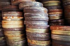 Παλαιά μεταλλικά κουτιά ταινιών Στοκ Εικόνες