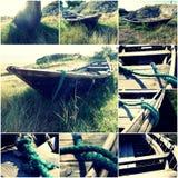 Παλαιά ξύλινη βάρκα στο πράσινο κολάζ χλόης groundin των τονισμένων εικόνων Στοκ Εικόνες