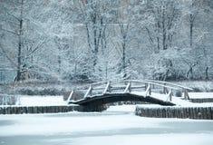 Παλαιά ξύλινη γέφυρα κάτω από το χιόνι, χειμερινό τοπίο Στοκ Εικόνα