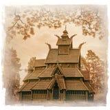 Παλαιά ξύλινη εκκλησία στο μουσείο Όσλο λαών στοκ εικόνες