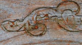 Παλαιά ξύλινη λεπτομέρεια χάραξης εδρών Στοκ φωτογραφίες με δικαίωμα ελεύθερης χρήσης