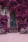 Παλαιά ξύλινη πόρτα του σπιτιού πετρών με το εναλλάσσομαι υπερφυσικό χρωματισμένο Λα Στοκ Φωτογραφίες