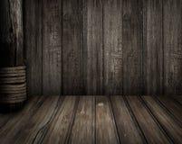 Παλαιά ξύλινη σκηνή όπως υπόβαθρο θέματος πειρατών Στοκ εικόνα με δικαίωμα ελεύθερης χρήσης