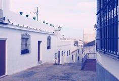 Παλαιά οδός στην ευρωπαϊκή πόλη arcos de frontera Λα Στοκ Εικόνες