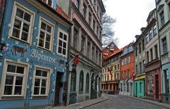 Παλαιά οδός στη Ρήγα, Λετονία Στοκ Εικόνες