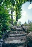 παλαιά πέτρα σκαλών σειράς της Ιταλίας Στοκ Φωτογραφία