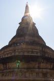 Παλαιά παγόδα με το φως του ήλιου σε Wat Umong Suan Puthatham, Chiangmai Στοκ Εικόνες