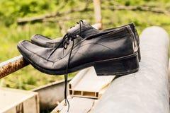 Παλαιά παπούτσια μαύρων Στοκ Εικόνα