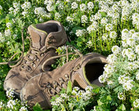 Παλαιά παπούτσια πεζοπορίας Στοκ Φωτογραφίες