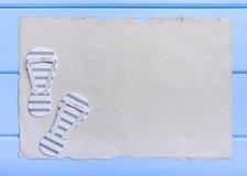 Παλαιά περγαμηνή και μπλε πίνακες Στοκ Εικόνες