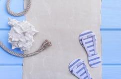 Παλαιά περγαμηνή και μπλε πίνακες Στοκ Φωτογραφία