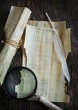 Παλαιά περγαμηνή, πιό magnifier και μάνδρα καλαμιών Στοκ φωτογραφία με δικαίωμα ελεύθερης χρήσης
