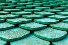 Παλαιά πράσινα κεραμίδια στεγών Στοκ φωτογραφίες με δικαίωμα ελεύθερης χρήσης