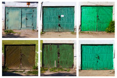 Παλαιά πόρτα γκαράζ, έξι εικόνες Στοκ Εικόνες