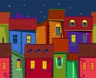Παλαιά πόλης απεικόνιση νύχτας Στοκ Εικόνα