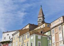 Παλαιά πόλης εικονική παράσταση πόλης Piran από την πλατεία Tartini, Σλοβενία Στοκ εικόνα με δικαίωμα ελεύθερης χρήσης