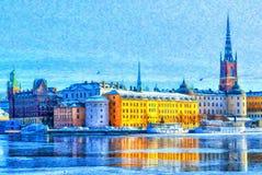 Παλαιά πόλης ψηφιακή ζωγραφική της Στοκχόλμης Στοκ Φωτογραφία