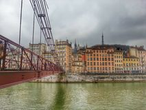 Παλαιά πόλη και ο ποταμός Saone, Λυών, Γαλλία της Λυών Στοκ εικόνα με δικαίωμα ελεύθερης χρήσης