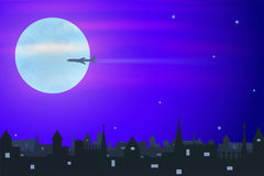 Παλαιά πόλη και airplan Στοκ Εικόνα