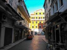Παλαιά πόλη του νησιού Ελλάδα της Κέρκυρας το απόγευμα Στοκ Εικόνες
