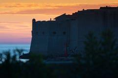 Παλαιά πόλη Dubrovnik στο ηλιοβασίλεμα Στοκ Φωτογραφία