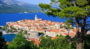 Παλαιά πόλη Korcula, ακτή της Δαλματίας, Κροατία Στοκ Εικόνα