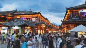 Παλαιά πόλη Lijiang το βράδυ, Yunnan Κίνα απόθεμα βίντεο