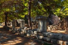 Παλαιά πόλη Phaselis σε Antalya, Τουρκία Στοκ Εικόνα