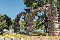 Παλαιά πόλη Phaselis, Antalya Destrict, Τουρκία: υδραγωγείο Στοκ εικόνες με δικαίωμα ελεύθερης χρήσης