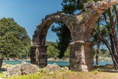 Παλαιά πόλη Phaselis, Antalya Destrict, Τουρκία: υδραγωγείο Στοκ φωτογραφία με δικαίωμα ελεύθερης χρήσης