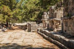 Παλαιά πόλη Phaselis, Antalya Destrict, Τουρκία Στοκ εικόνα με δικαίωμα ελεύθερης χρήσης