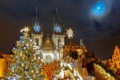 Παλαιά πλατεία της πόλης Cristmas στην Πράγα, Δημοκρατία της Τσεχίας στοκ φωτογραφία