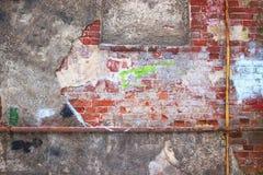 Παλαιά πλινθοδομή, ο τοίχος υποβάθρου των κόκκινων φραγμών Στοκ εικόνα με δικαίωμα ελεύθερης χρήσης