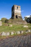 Παλαιά ρωμαϊκή καταστροφή (πύργος του Leonardo) μέσα μέσω Appia Antica (Ρώμη, Ιταλία) Στοκ Εικόνες