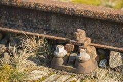 Παλαιά σειρά μαθημάτων Borkense γραμμών σιδηροδρόμων κοντά στα γερμανικά σύνορα στο δήμο Winterswijk στοκ φωτογραφία