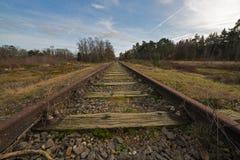 Παλαιά σειρά μαθημάτων Borkense γραμμών σιδηροδρόμων κοντά στα γερμανικά σύνορα στο δήμο Winterswijk στοκ εικόνες
