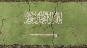 Παλαιά σημαία της Σαουδικής Αραβίας KSA grunge εξασθενισμένη τρύγος Στοκ Φωτογραφίες