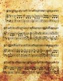 Παλαιά σημείωση μουσικής και εκλεκτής ποιότητας επίδραση, μουσικό υπόβαθρο Στοκ Εικόνα