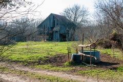 Παλαιά σιταποθήκη του Τέξας στο αγρόκτημα Στοκ Φωτογραφίες