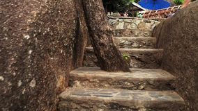Παλαιά σκάλα στην Ταϊλάνδη σε έναν πολύ τουριστκό απόθεμα βίντεο