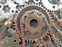 Παλαιά σκουριασμένη αλυσίδα της αλυσίδας μοτοσικλετών Στοκ Εικόνες