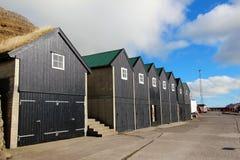 Παλαιά σπίτια στα Νησιά Φερόες Στοκ Φωτογραφίες