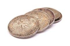 Παλαιά συλλογή νομισμάτων στιλβωτικής ουσίας που απομονώνεται στο άσπρο υπόβαθρο Στοκ φωτογραφία με δικαίωμα ελεύθερης χρήσης