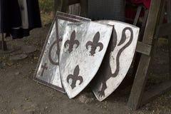 Παλαιά φωτογραφία εξοπλισμού ιπποτών ασπίδων Στοκ εικόνα με δικαίωμα ελεύθερης χρήσης